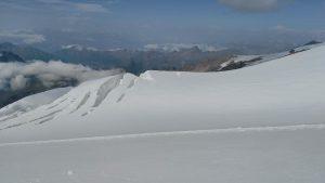 панорама в Алпите, на зеден план се вижда Монблан